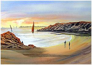 Sunset over the beach in Watercolour