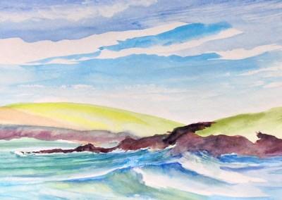 Harlyn Bay surf running