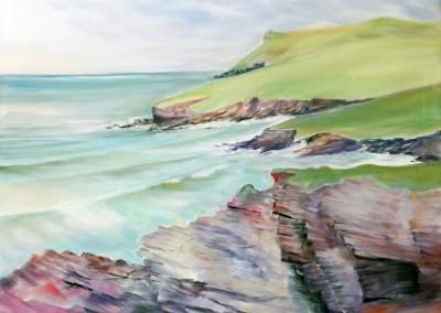 Towards Pentire point from New Polzeath Cornwall