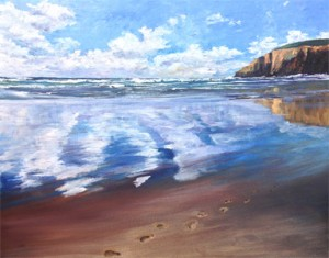 Footprints in sand Morgan Porth acrylic