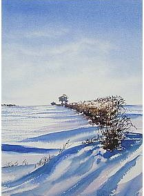 Snow on the Wolds in Watercolours