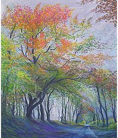 Woodland walk as autumn approaches in Pastel