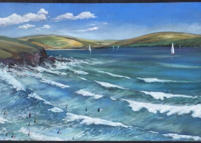 Polzeath three quarter tide from headland