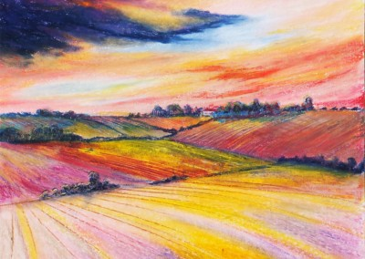 Red Sky over the fields