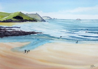 Polzeath beach from high viewpoint