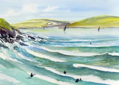 Crashing surf at Polzeath high tide