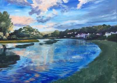 Crepuscular evening light across the Camel River Wadebridge